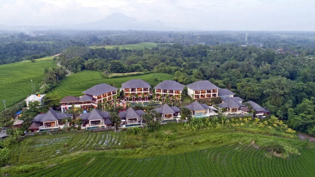 sahaja sawah resort aerial bali vacation homes