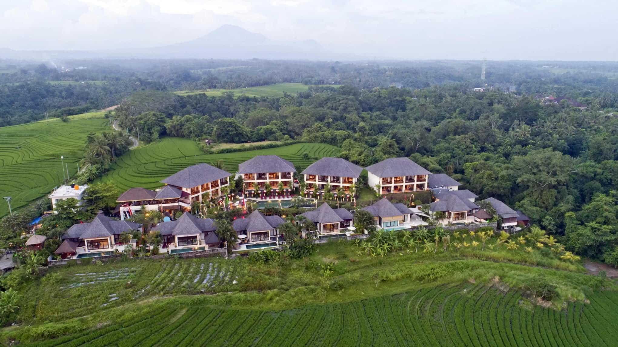 sahaja sawah resort aerial bali vacation homes